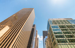 Buildings of New York City - Manhattan Midtown from the street Royalty Free Stock Photo