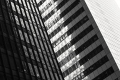 Buildings in New York City. Monochrome facade of a skyscrapers in Manhattan, New York City, USA Stock Image