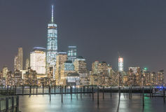 Buildings of New York City at night Stock Photos