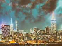 Buildings of New York City at night.  Royalty Free Stock Images