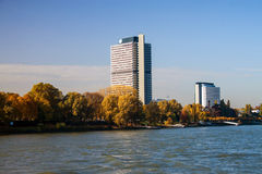 Buildings next to river Rhine in Bonn Royalty Free Stock Image