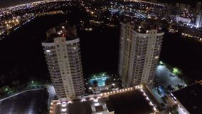 Buildings at night stock footage