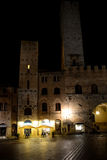 Buildings at night in San Gimignano city in Italy Royalty Free Stock Image