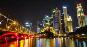 Buildings at night in Singapore Royalty Free Stock Photography