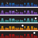 Buildings at Nighttime Background Set Royalty Free Stock Photos