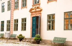 Buildings at Norsk Folkenmuseum. Oslo, Norway-August 13, 2014 - Traditional old building at Norsk Folkemuseum stock photos