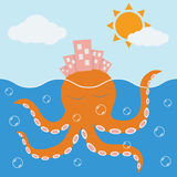 Buildings on octopus head. Stock Photo