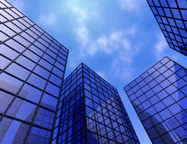 Buildings office finance tower glass windows mirrors blue 3D illustration Royalty Free Stock Photography