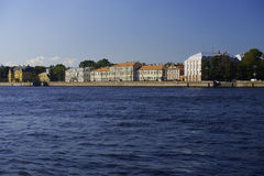 Buildings of old housing resources on Neva river bank Stock Image