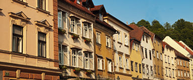 Buildings old town center Ljubljana Royalty Free Stock Image