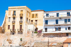 Buildings in the old town of Chania on Crete island, Greece. Royalty Free Stock Photo