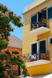 Buildings in the old town of Chania on Crete island, Greece. Stock Photos