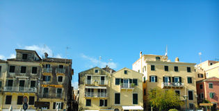 Buildings in old Town. In Corfu island Greece Royalty Free Stock Photos