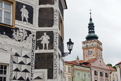Buildings in old town of Mikulov, Czech Republic Royalty Free Stock Photos