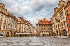 Buildings on the Old Town square Staromestska Namesti in Prague during sunrise, Czech Republic Stock Photography