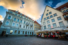 Buildings at Old Town Square at sunset royalty free stock photo
