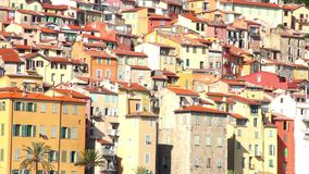 Buildings in the old village of Menton, French Riviera stock footage