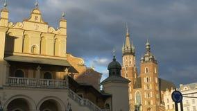 Buildings in Oldtown Krakow. Oldtown Krakow, Poland, medieval buildings and church stock footage