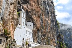 Buildings of Ostrog monastery Upper Church with mosaics. Niksic, Montenegro. Buildings of Ostrog monastery Upper Church with mosaics. Niksic, Montenegro royalty free stock image