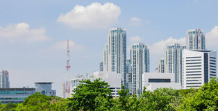Buildings. Outdoor condominium buildings on blue sky background Royalty Free Stock Images