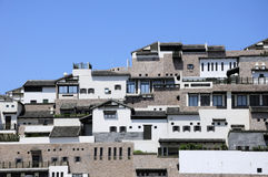 Buildings outside Zhoushan Boat Dock Royalty Free Stock Images