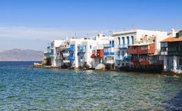Buildings over the sea of Little Venice on Mykonos Royalty Free Stock Photos