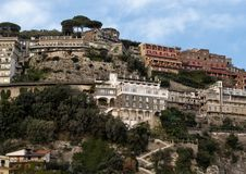 Buildings overlooking Marina Grande, fishing village in Sorrento, Italy. Pictured are buildings overlooking the Marina Grande, a fishing village in Sorrento stock image