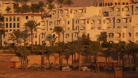 Buildings and palm trees on the beach at dawn stock footage
