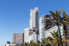 Buildings and Palm Trees on Golden Mile Beachfront Stock Image