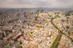 Buildings of Paris and Eiffel Tower aerial view Royalty Free Stock Photos