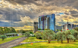 Buildings at Parkes Way road in Canberra, Australia Royalty Free Stock Photo