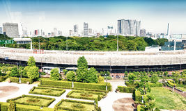 Buildings and parks of Tokyo from subway train Royalty Free Stock Photos