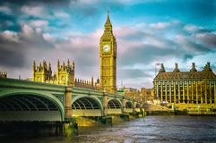 Buildings of Parliament with Big Ban tower in London Stock Images