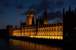 Buildings of Parliament London UK evening view. Buildings of Parliament with Big Ban tower in London UK evening view Royalty Free Stock Image