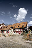 Buildings part of a german castle. Medieval buildings of the castle area in Nuremberg, Germany Royalty Free Stock Photo