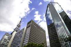 Buildings in Paulista Avenue in Sao Paulo, Brazil.  Royalty Free Stock Image