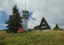 Buildings at the peak of Klinovec in the Ore Mountains Stock Image