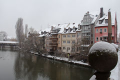 Buildings on Pegnitz river canal in winter time. Nuremberg. Bavaria. Germany. Stock Image