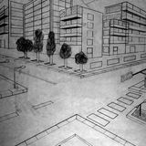 Buildings pencil drawing made by a 5th grader. Two vanishing points perspective - buildings pencil drawing studied in school by a 5th grader (myself many years stock illustration