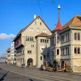 Buildings and people on the Limmatquai quay in Zurich, Switzerla Royalty Free Stock Photo