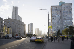 Buildings and people on the street Novy Arbat in Moscow Royalty Free Stock Photos
