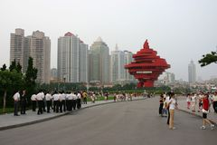 Buildings and people in Tsingtao, China. royalty free stock photos