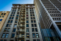 Buildings at Pershing Square, in downtown Los Angeles  Royalty Free Stock Image