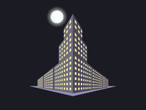 Buildings in perspective, the moon at night. The outline of the houses, the city in 3D. Stock Photos