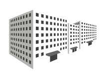 Buildings in perspective on a white background. The outline of the houses, the city in 3D. Stock Photo