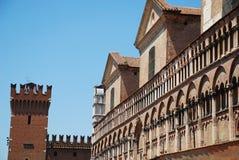 Buildings in Piazza Trento e Trieste, Ferrara Royalty Free Stock Photos