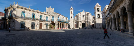 Buildings in Plaza de la Catedral in Old Havana, Cuba. Havana Cathedral and Buildings in Plaza de la Catedral in Old Havana, Cuba - October 24, 2016 Royalty Free Stock Photography