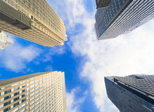 Buildings pointing towards the sky Stock Photo