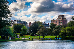 Buildings and a pond in the Public Garden in Boston, Massachuset Stock Images