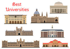 Buildings of popular national universities icons Royalty Free Stock Photography